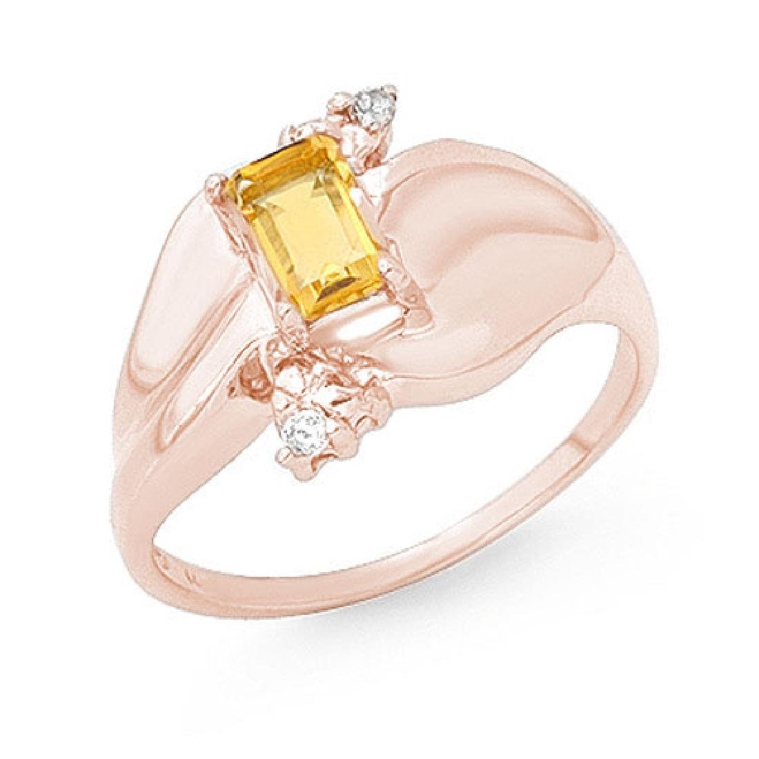 0.72 CTW Citrine & Diamond Ring 10K Rose Gold