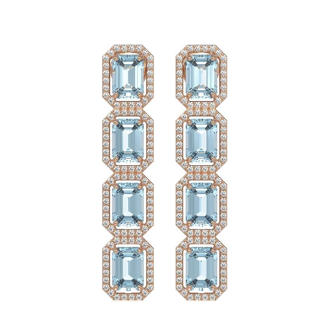 11.54 CTW Aquamarine & Diamond Halo Earrings 10K Rose