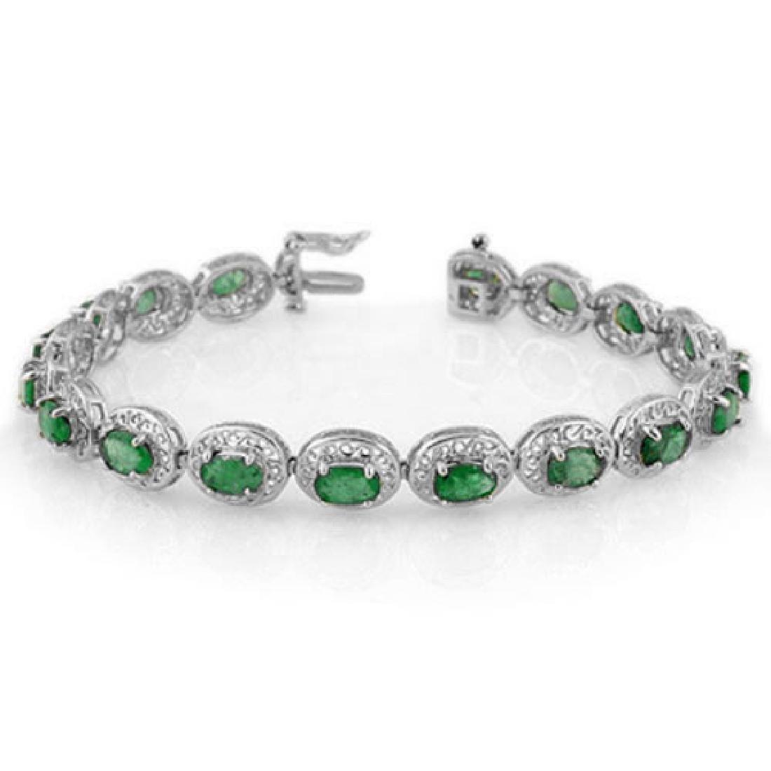 10.0 CTW Emerald Bracelet 18K White Gold