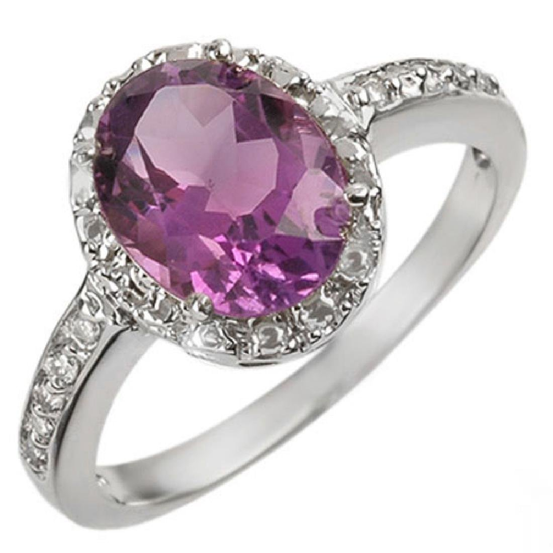 2.15 CTW Amethyst & Diamond Ring 10K White Gold