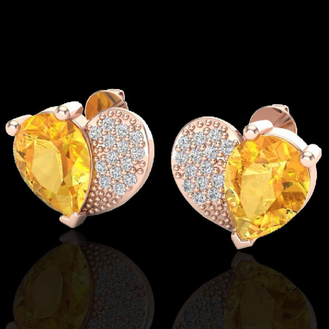2.50 CTW Citrine & Micro Pave VS/SI Diamond Earrings
