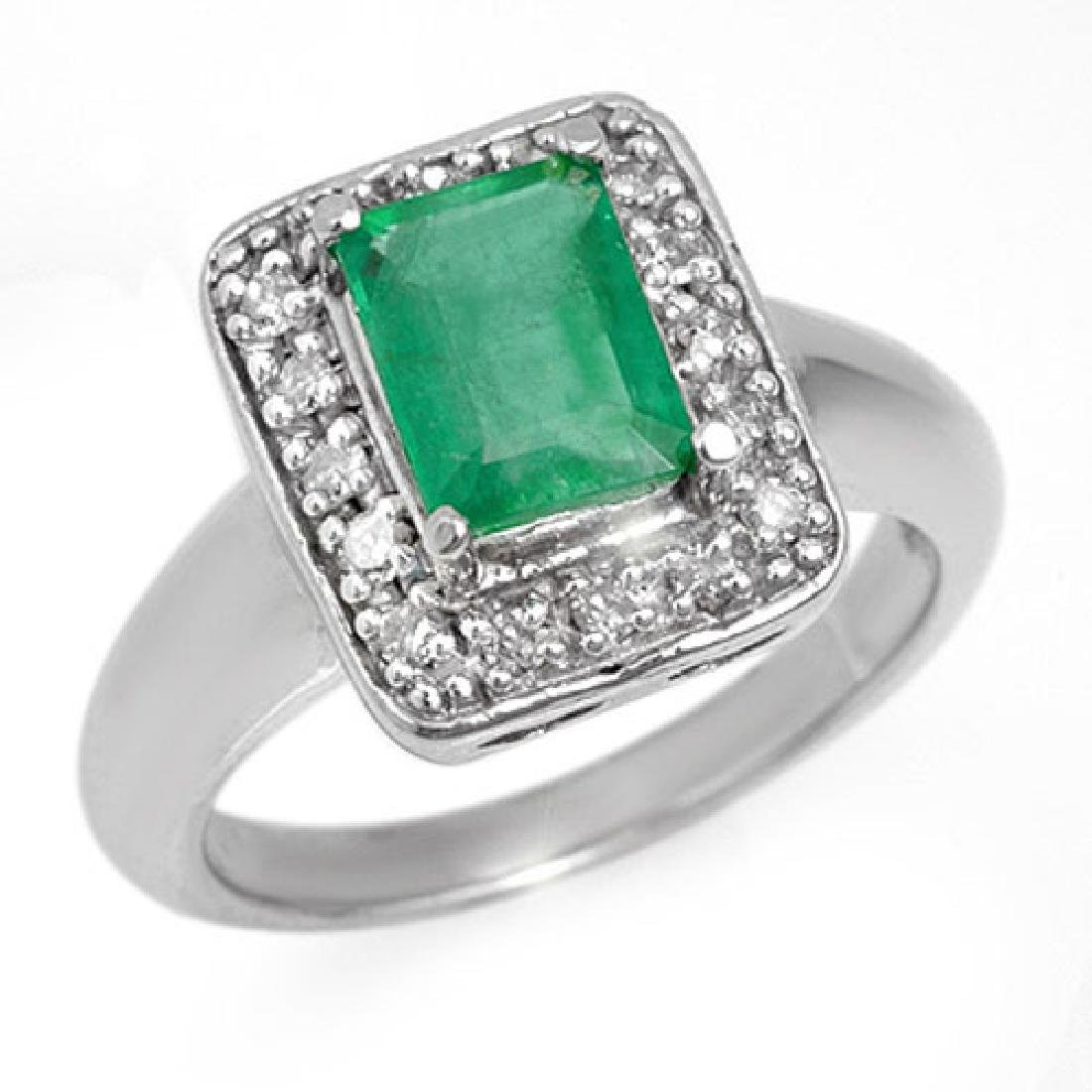 2.03 CTW Emerald & Diamond Ring 18K White Gold