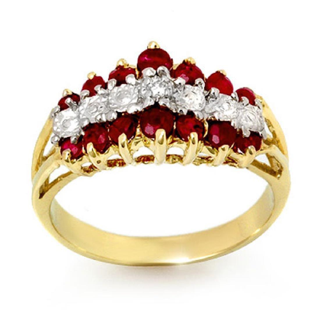 1.06 CTW Ruby & Diamond Ring 10K Yellow Gold
