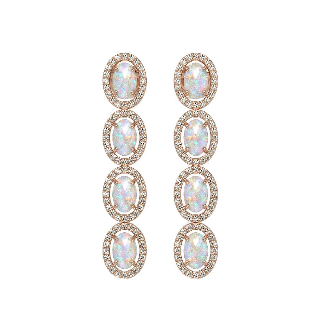 4.05 CTW Opal & Diamond Halo Earrings 10K Rose Gold