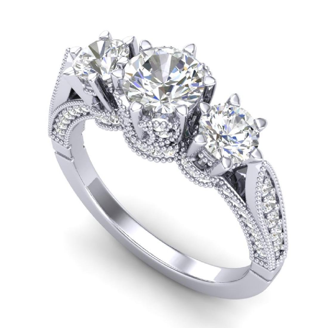 2.18 CTW VS/SI Diamond Art Deco 3 Stone Ring 18K White