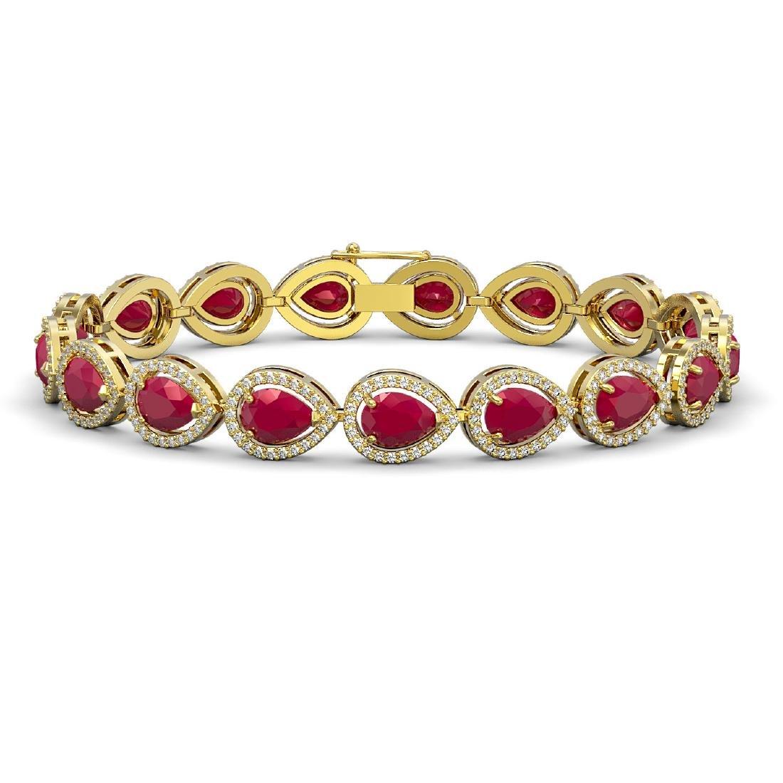 21.69 CTW Ruby & Diamond Halo Bracelet 10K Yellow Gold