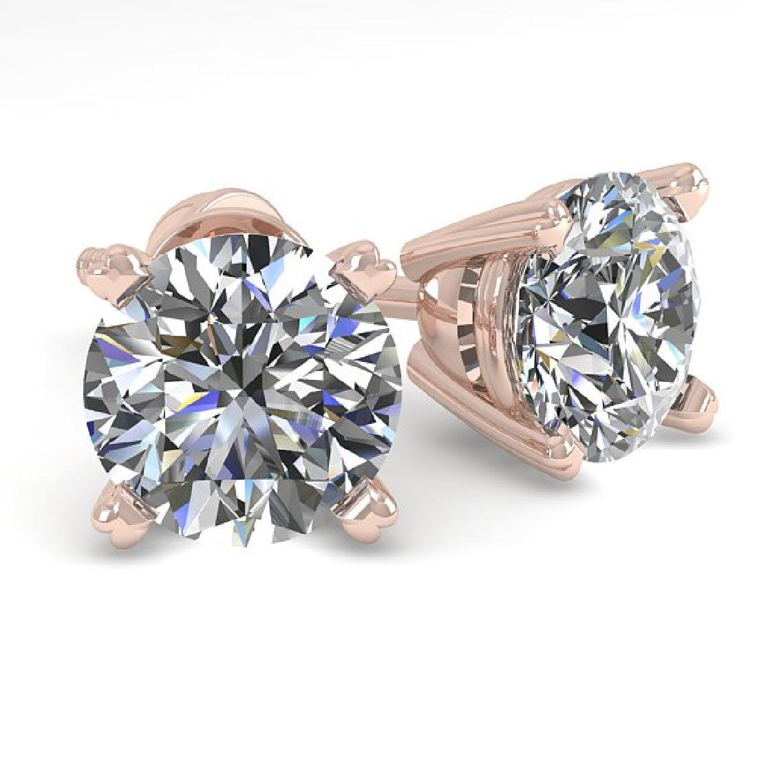 1.53 CTW VS/SI Diamond Stud Designer Earrings 18K Rose