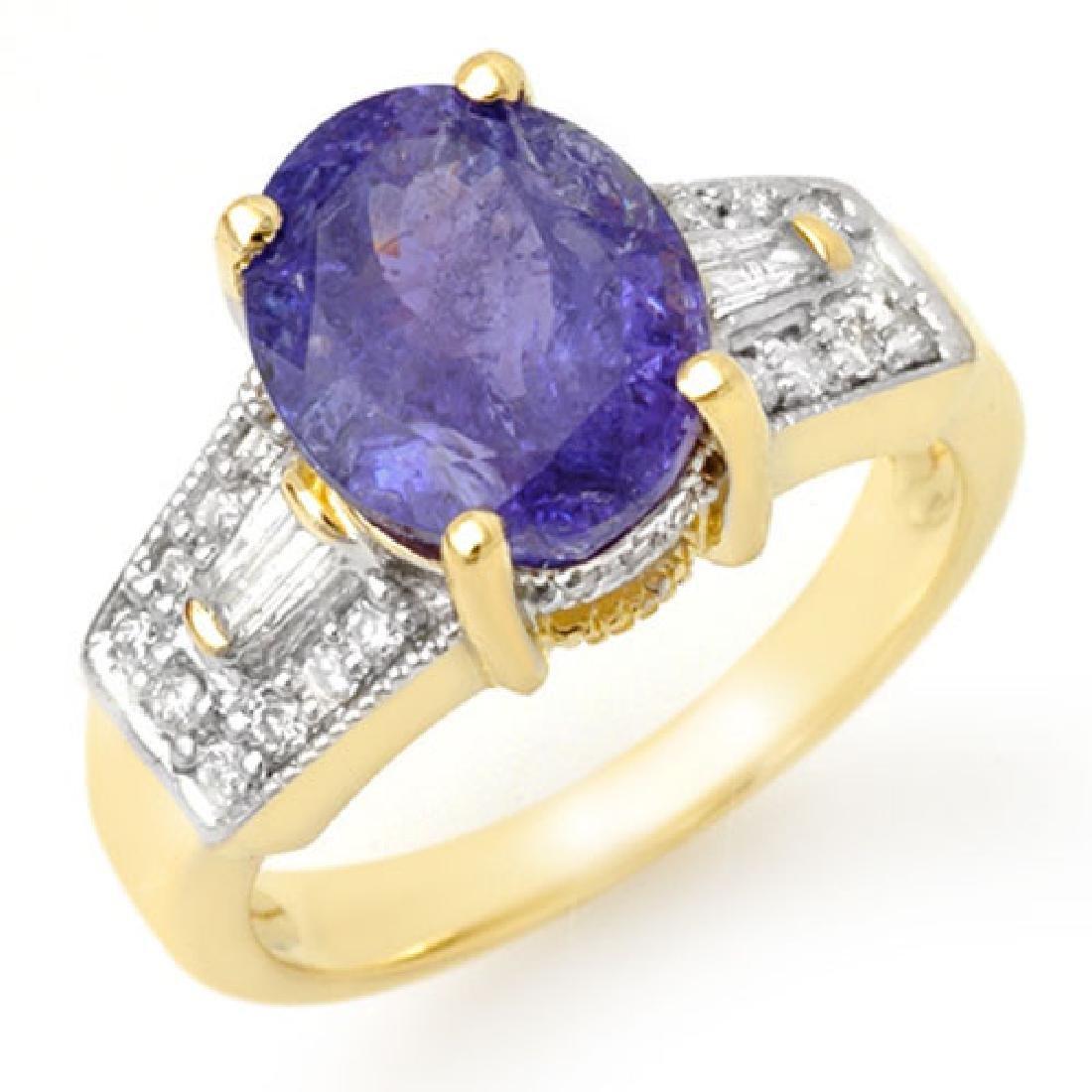 5.55 CTW Tanzanite & Diamond Ring 10K Yellow Gold
