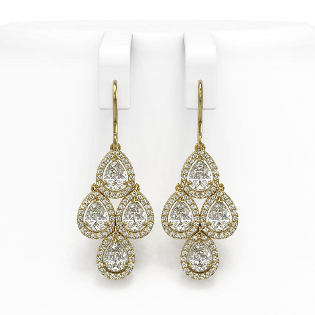 5.85 CTW Pear Diamond Designer Earrings 18K Yellow Gold