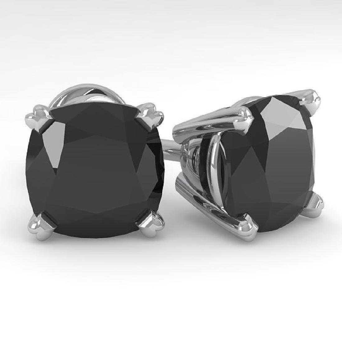 6 CTW Cushion Black Diamond Stud Designer Earrings 18K