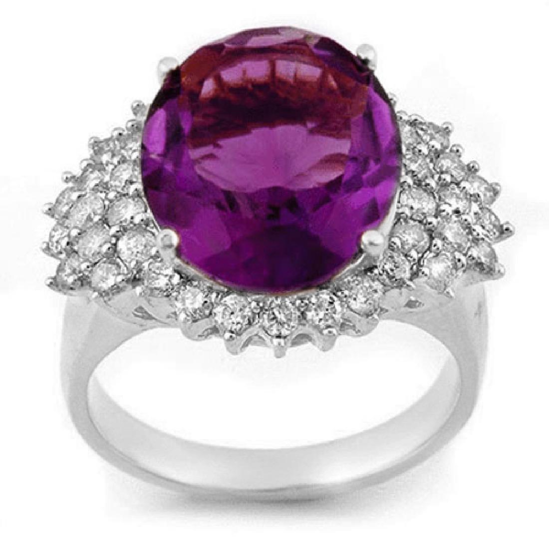 8.18 CTW Amethyst & Diamond Ring 18K White Gold