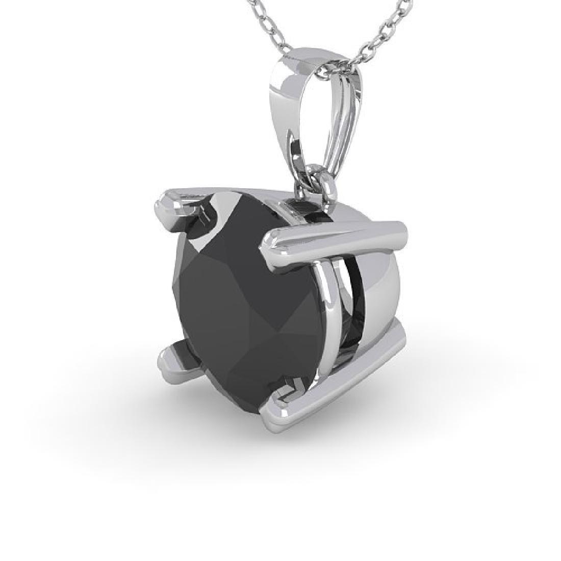 1 CTW Black Diamond Designer Necklace 18K White Gold