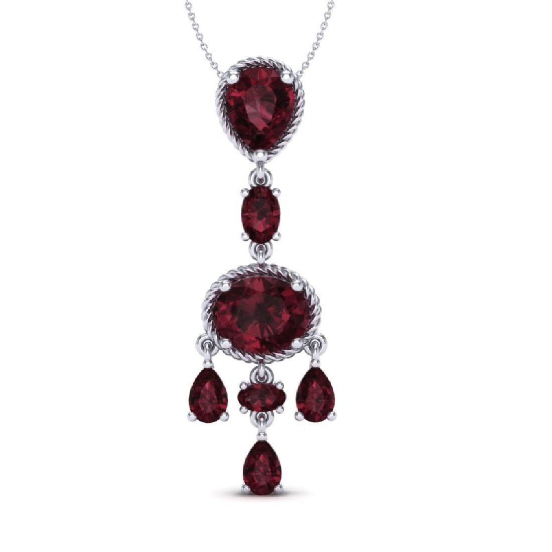 8 CTW Garnet Necklace Designer Vintage 10K White Gold