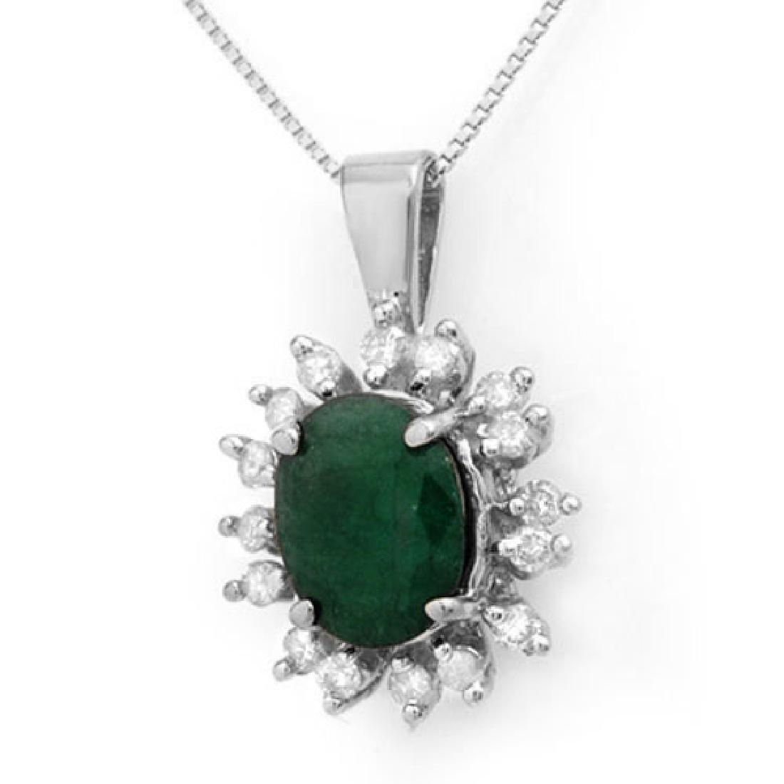 4.20 CTW Emerald & Diamond Pendant 14K White Gold