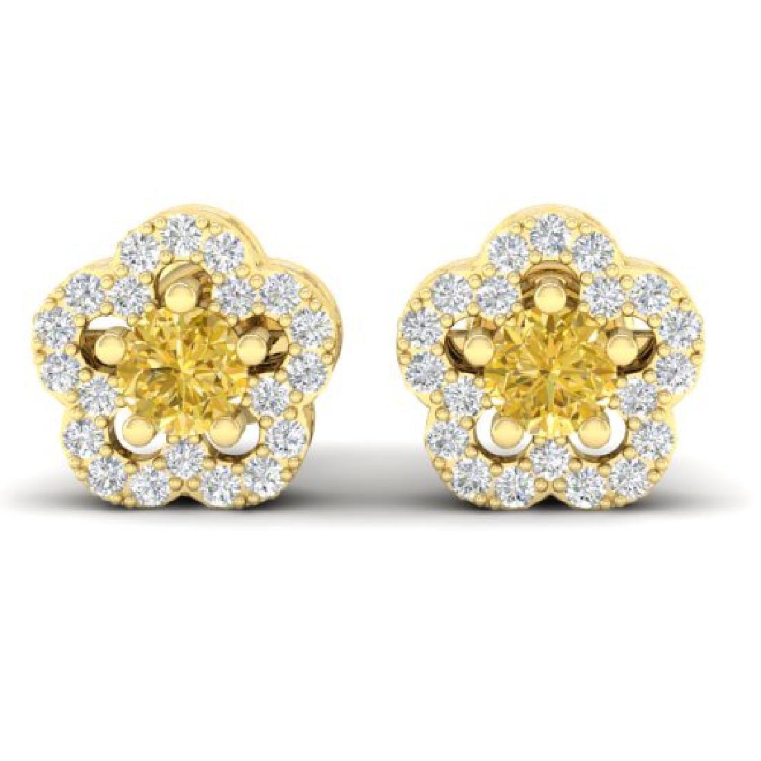 0.65 CTW Citrine & Micro Pave VS/SI Diamond Earrings