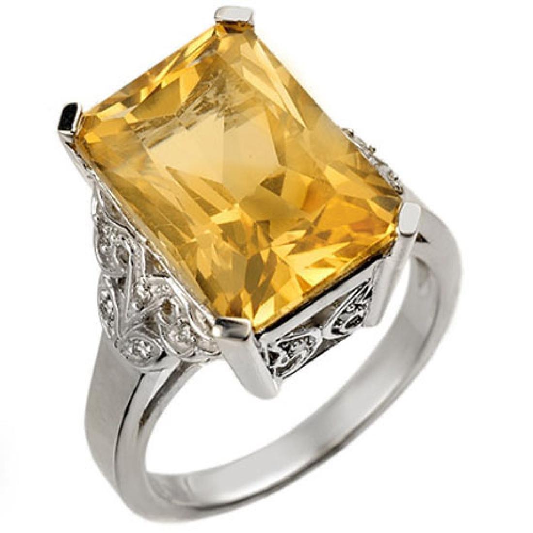 9.20 CTW Citrine & Diamond Ring 14K White Gold