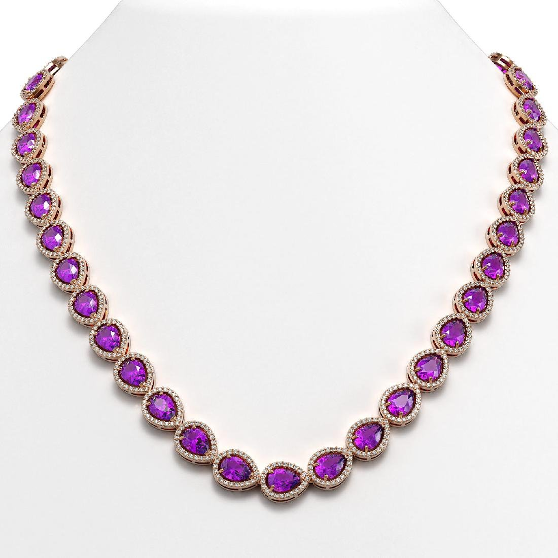 35.13 CTW Amethyst & Diamond Halo Necklace 10K Rose