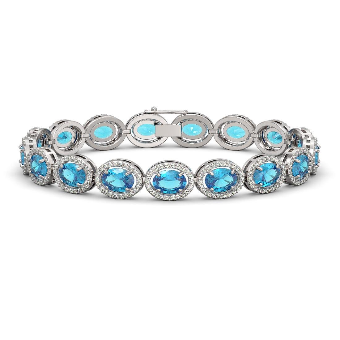 24.32 CTW Swiss Topaz & Diamond Halo Bracelet 10K White