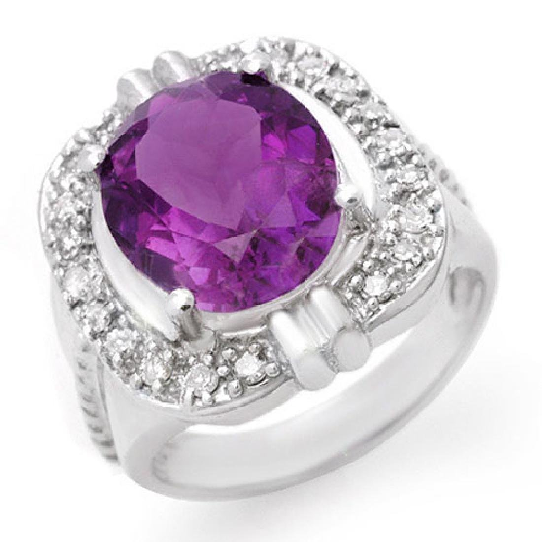 4.78 CTW Amethyst & Diamond Ring 10K White Gold