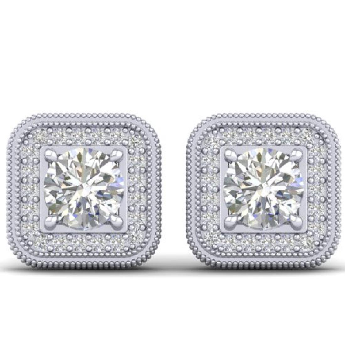 2 CTW Certified VS/SI Diamond Art Deco Micro Halo Stud