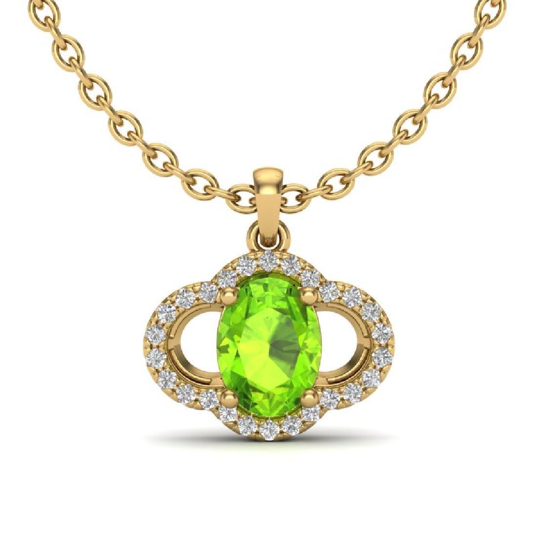 1.75 CTW Peridot & Micro Pave VS/SI Diamond Necklace