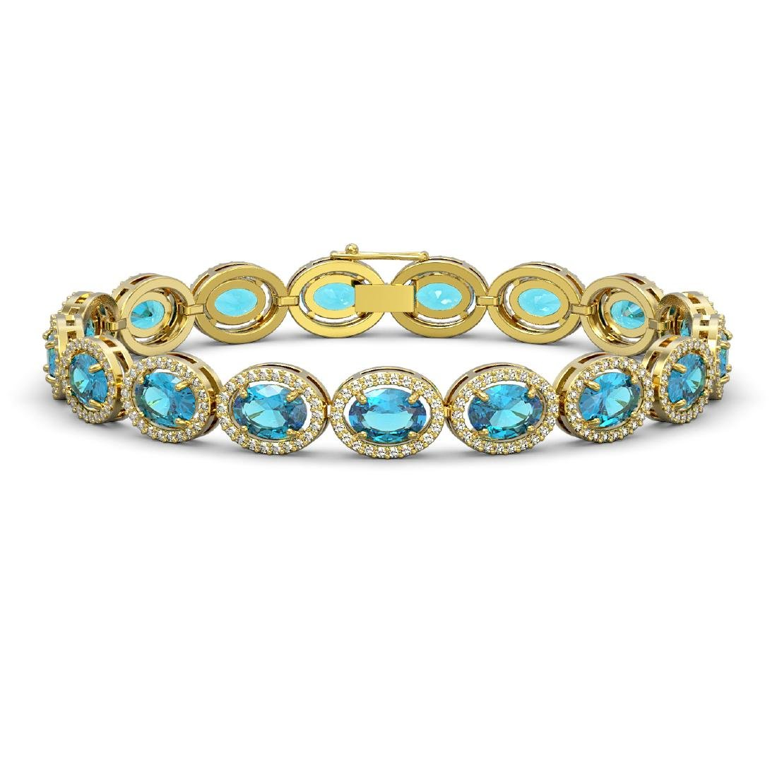 24.32 CTW Swiss Topaz & Diamond Halo Bracelet 10K