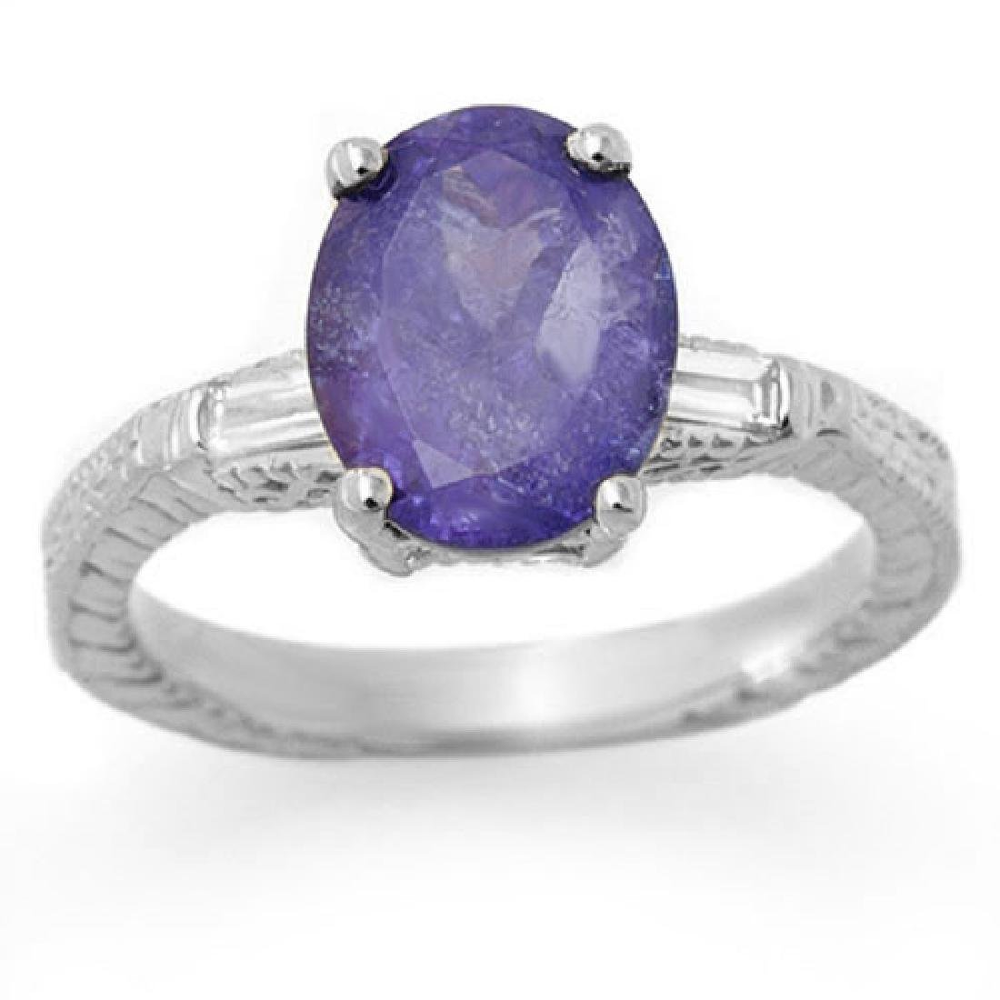 3.70 CTW Tanzanite & Diamond Ring 14K White Gold