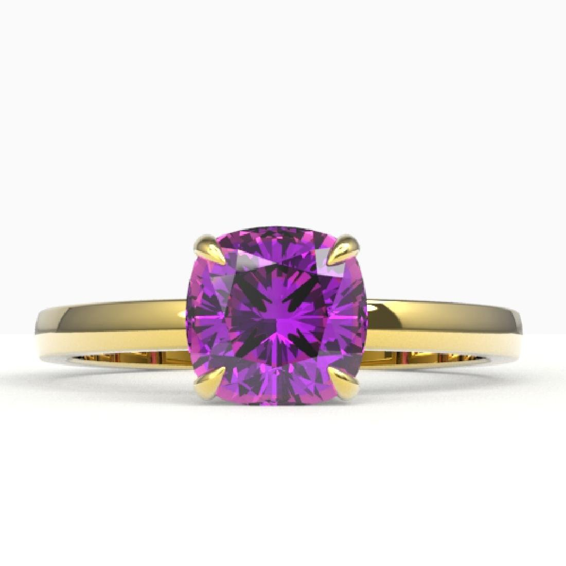 2 CTW Cushion Cut Amethyst Designer Engagement Ring 18K