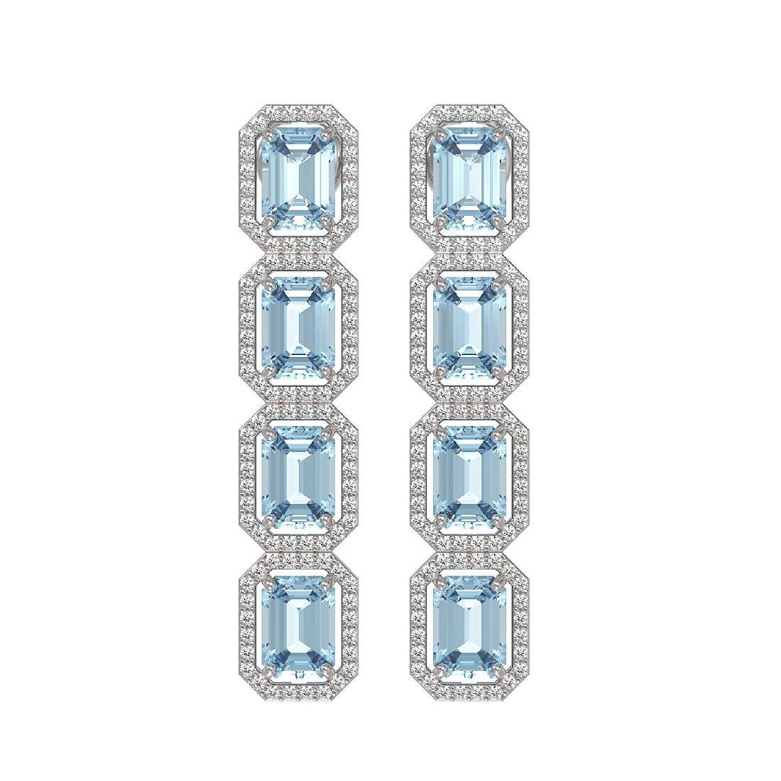 11.54 CTW Aquamarine & Diamond Halo Earrings 10K White