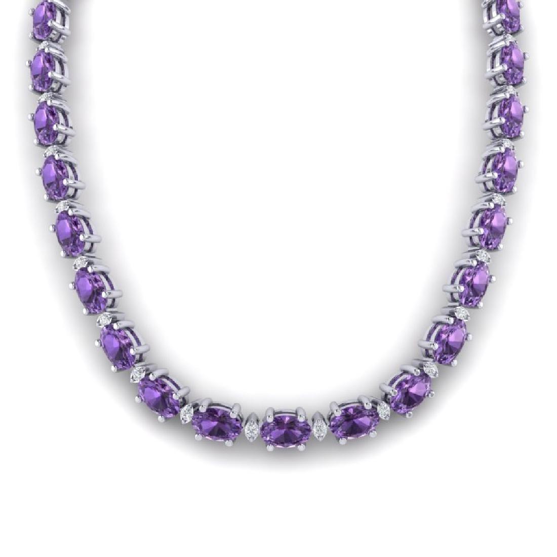 61.85 CTW Amethyst & VS/SI Certified Diamond Eternity