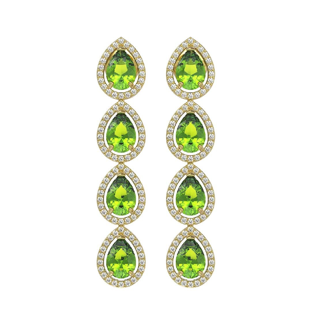 7.46 CTW Peridot & Diamond Halo Earrings 10K Yellow