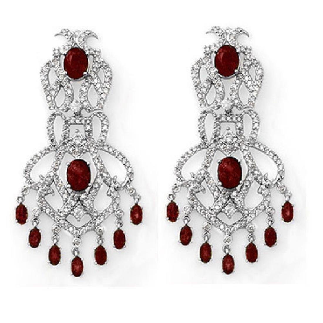 17.50 CTW Ruby & Diamond Earrings 18K White Gold