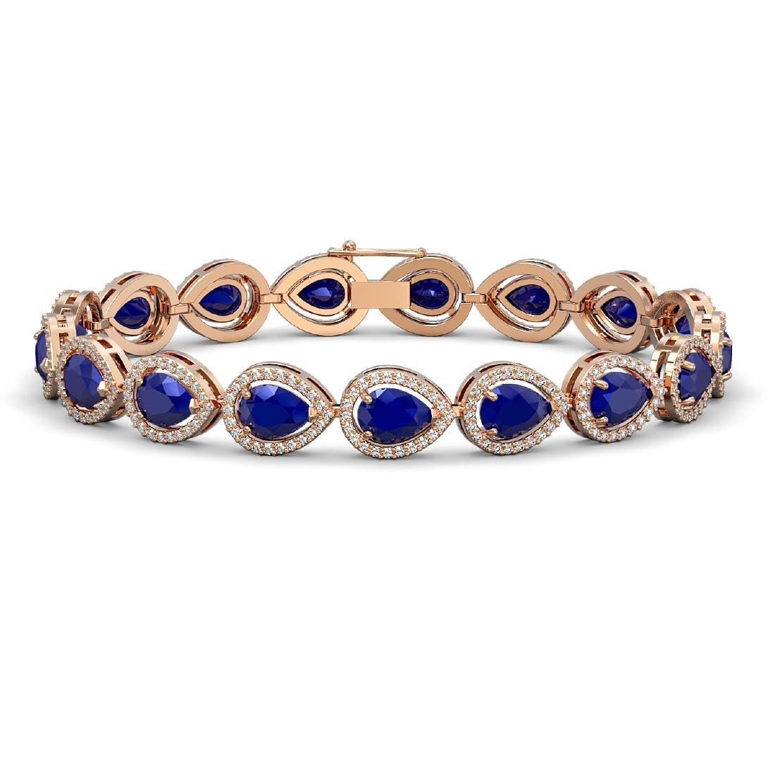 21.69 CTW Sapphire & Diamond Halo Bracelet 10K Rose