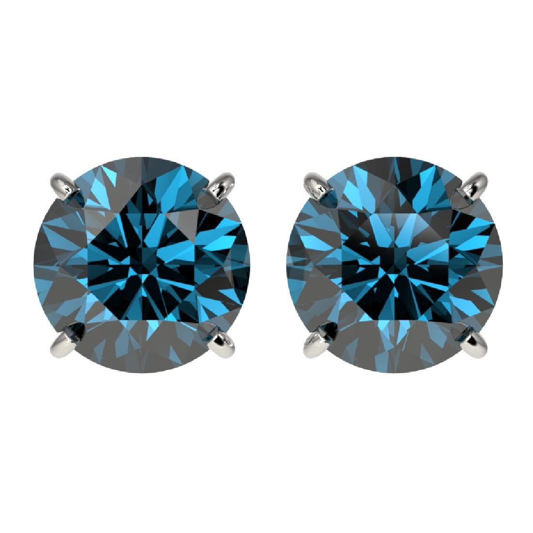 3.15 CTW Certified Intense Blue SI Diamond Solitaire