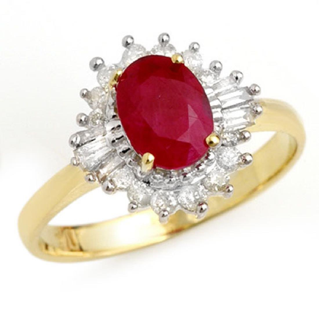 1.55 CTW Ruby & Diamond Ring 10K Yellow Gold
