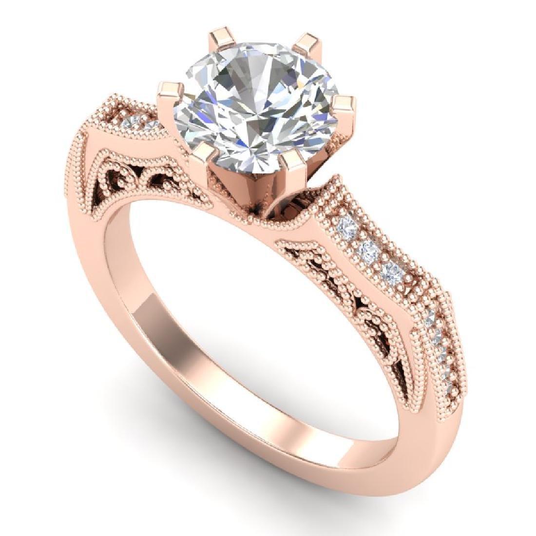 1.51 CTW VS/SI Diamond Solitaire Art Deco Ring 18K Rose