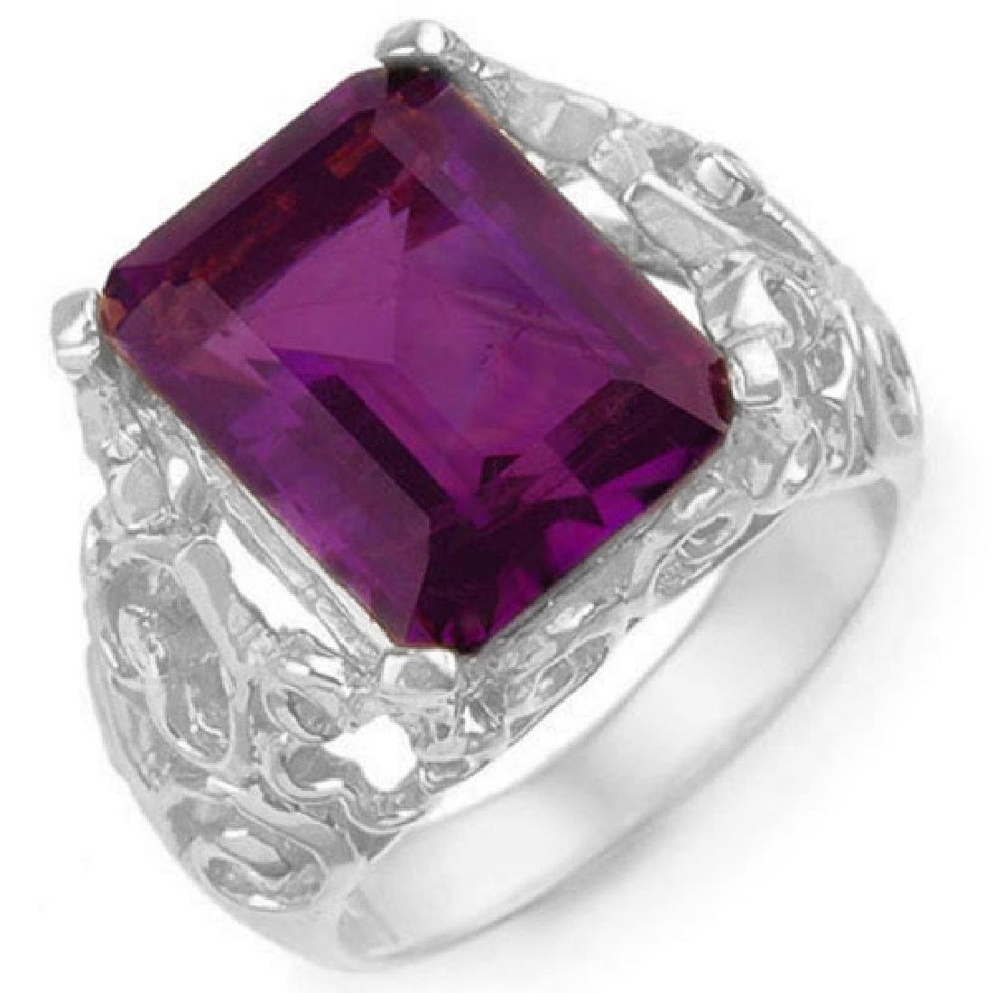 8.03 CTW Amethyst & Diamond Ring 10K White Gold