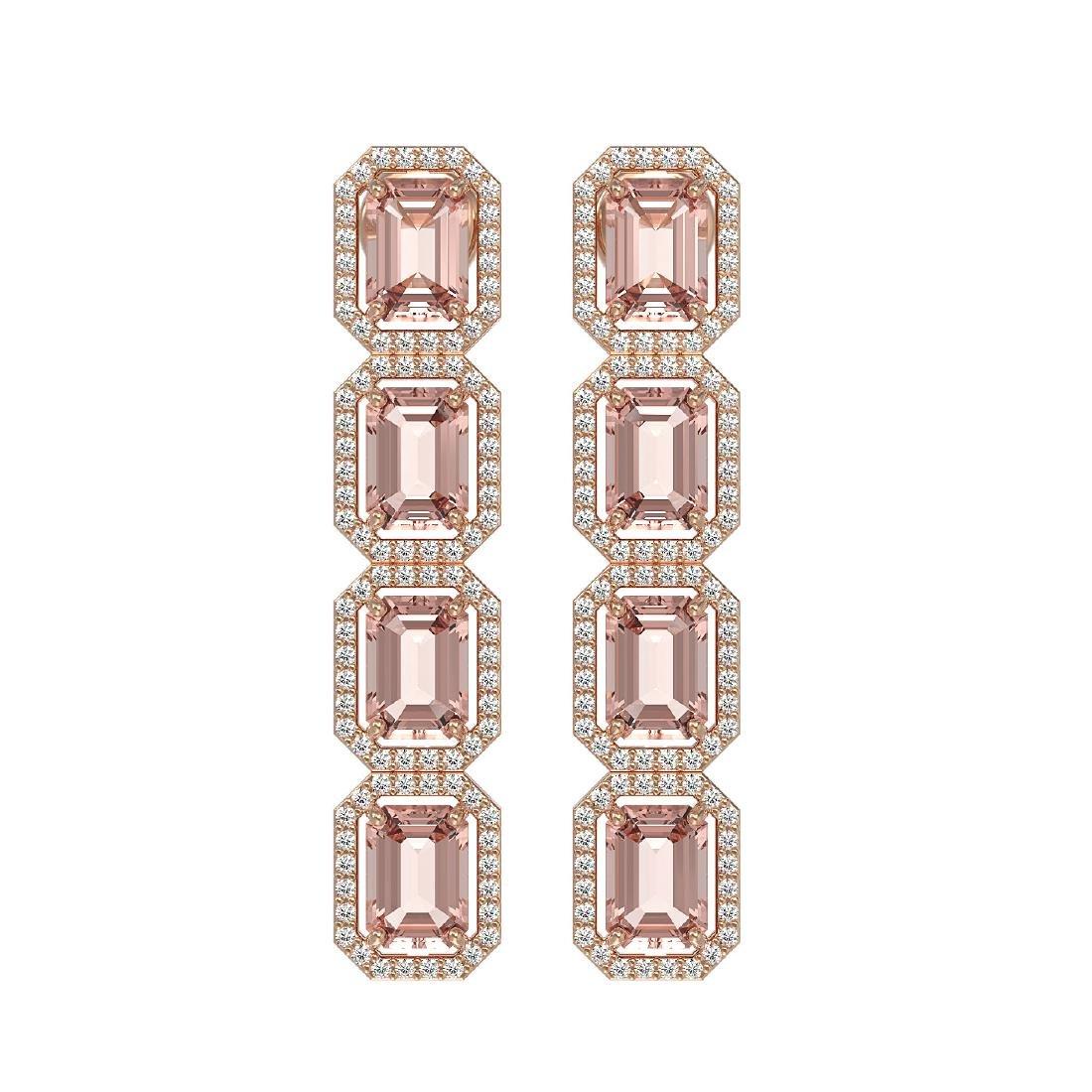 10.73 CTW Morganite & Diamond Halo Earrings 10K Rose