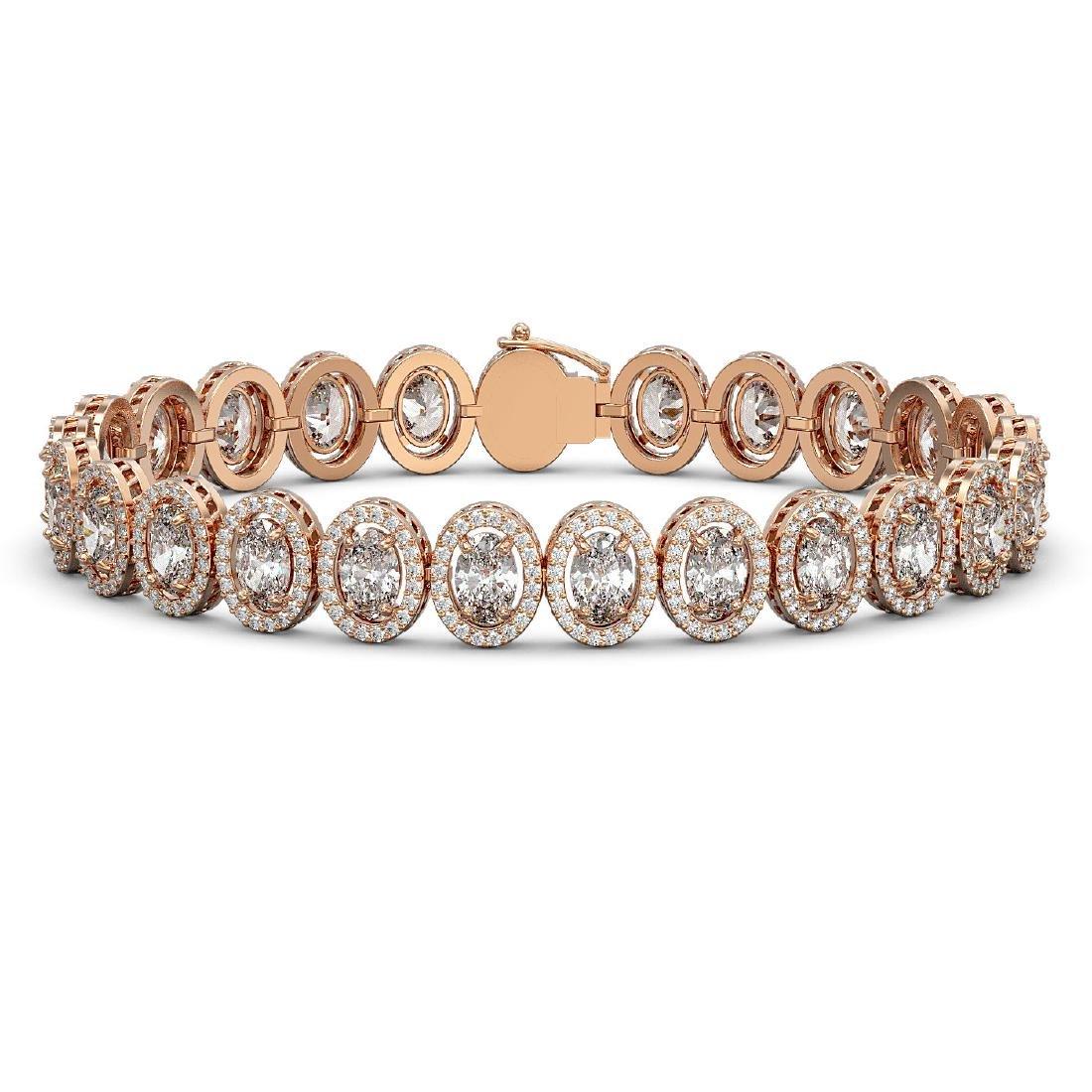 18.8 CTW Oval Diamond Designer Bracelet 18K Rose Gold