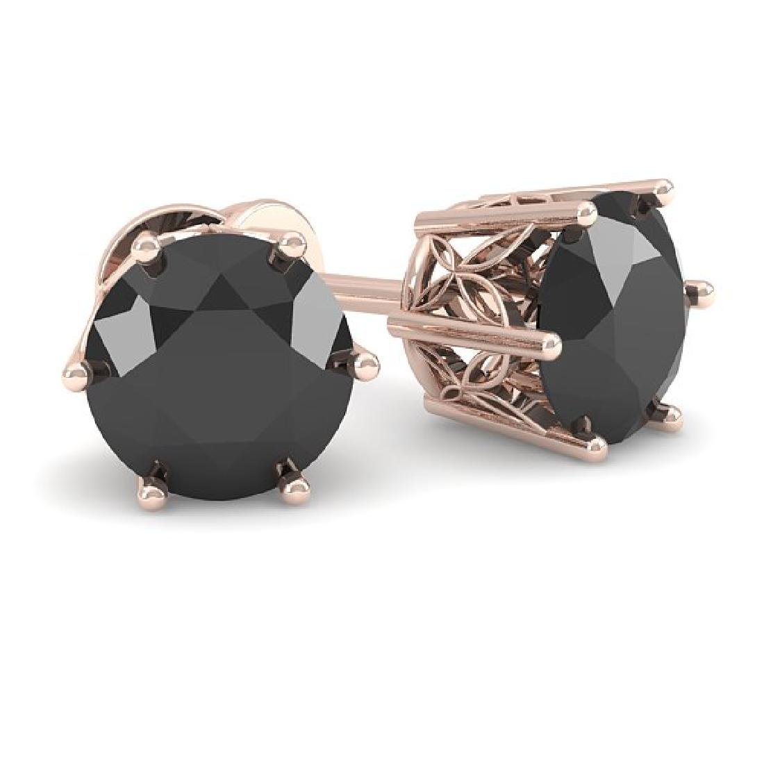 1.0 CTW Black Certified Diamond Stud Art Deco Earrings