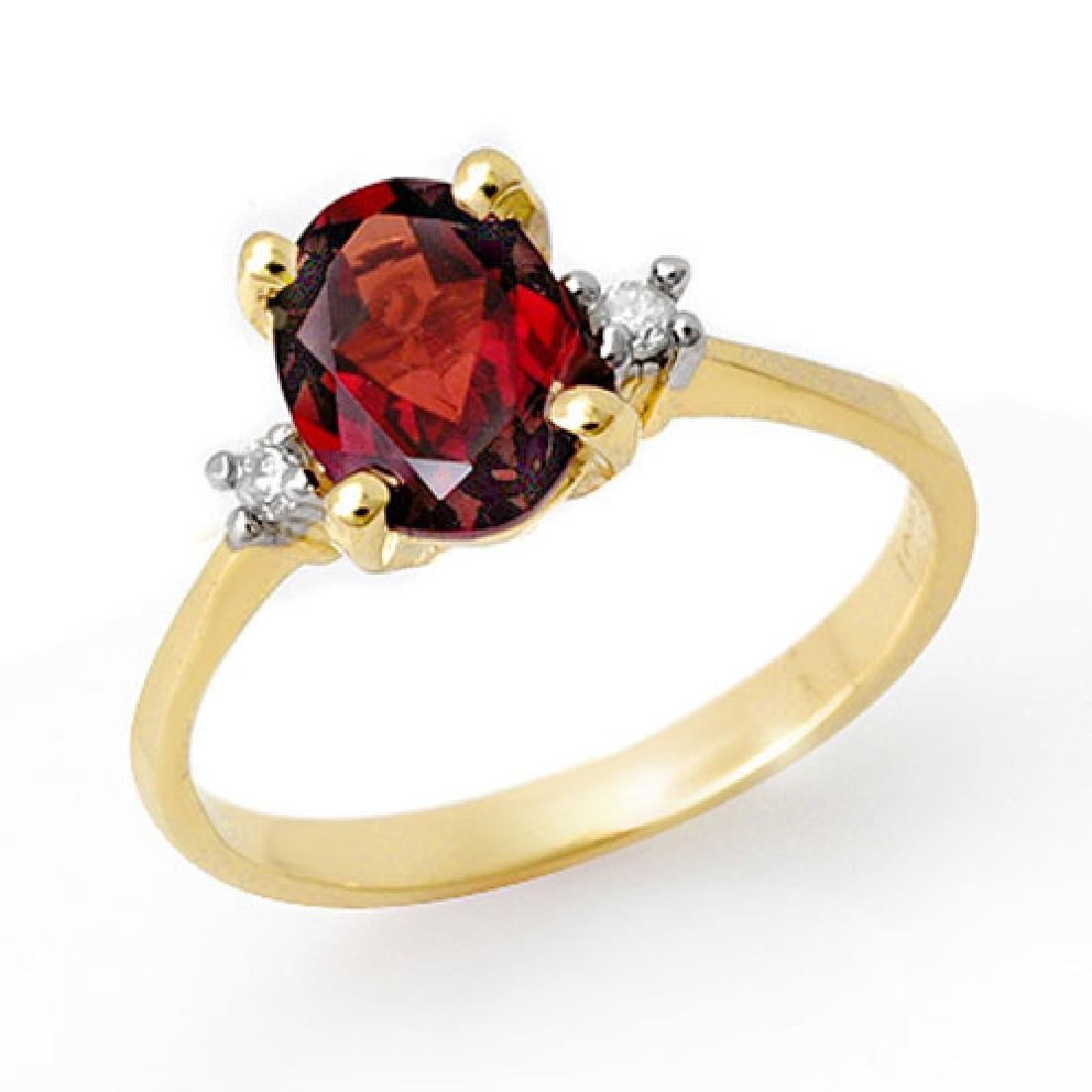 1.54 CTW Garnet & Diamond Ring 10K Yellow Gold