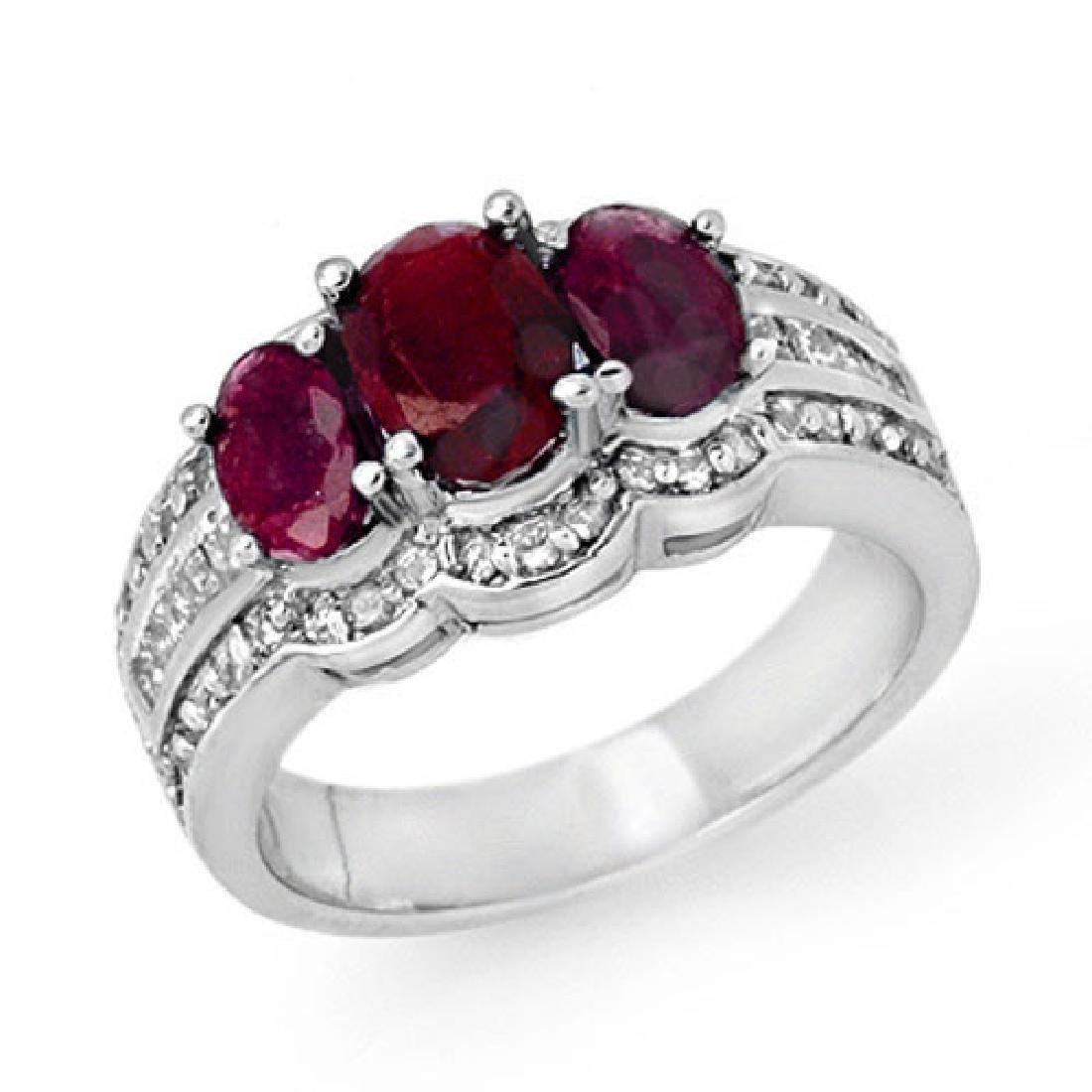 3.50 CTW Ruby & Diamond Ring 18K White Gold