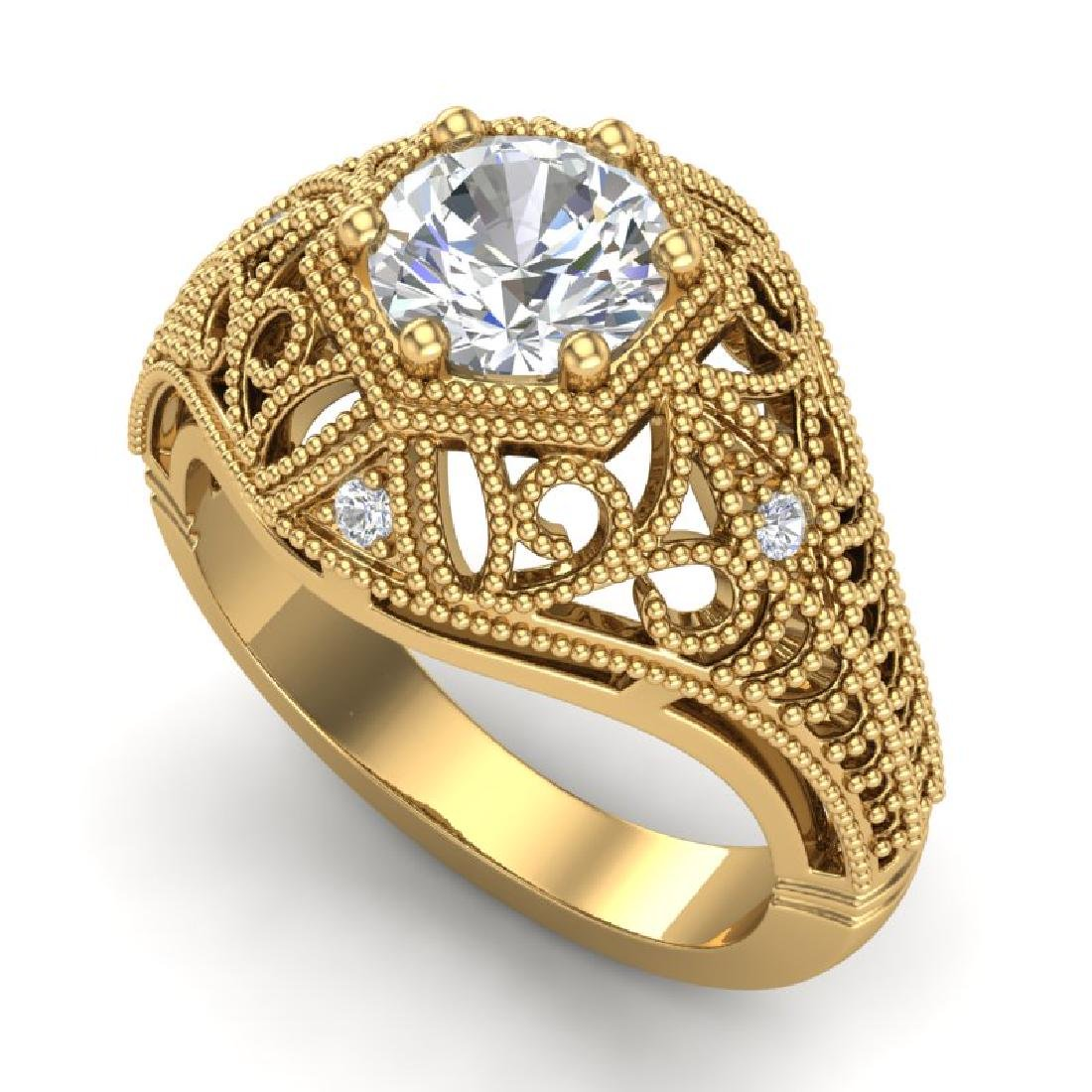 1.07 CTW VS/SI Diamond Solitaire Art Deco Ring 18K