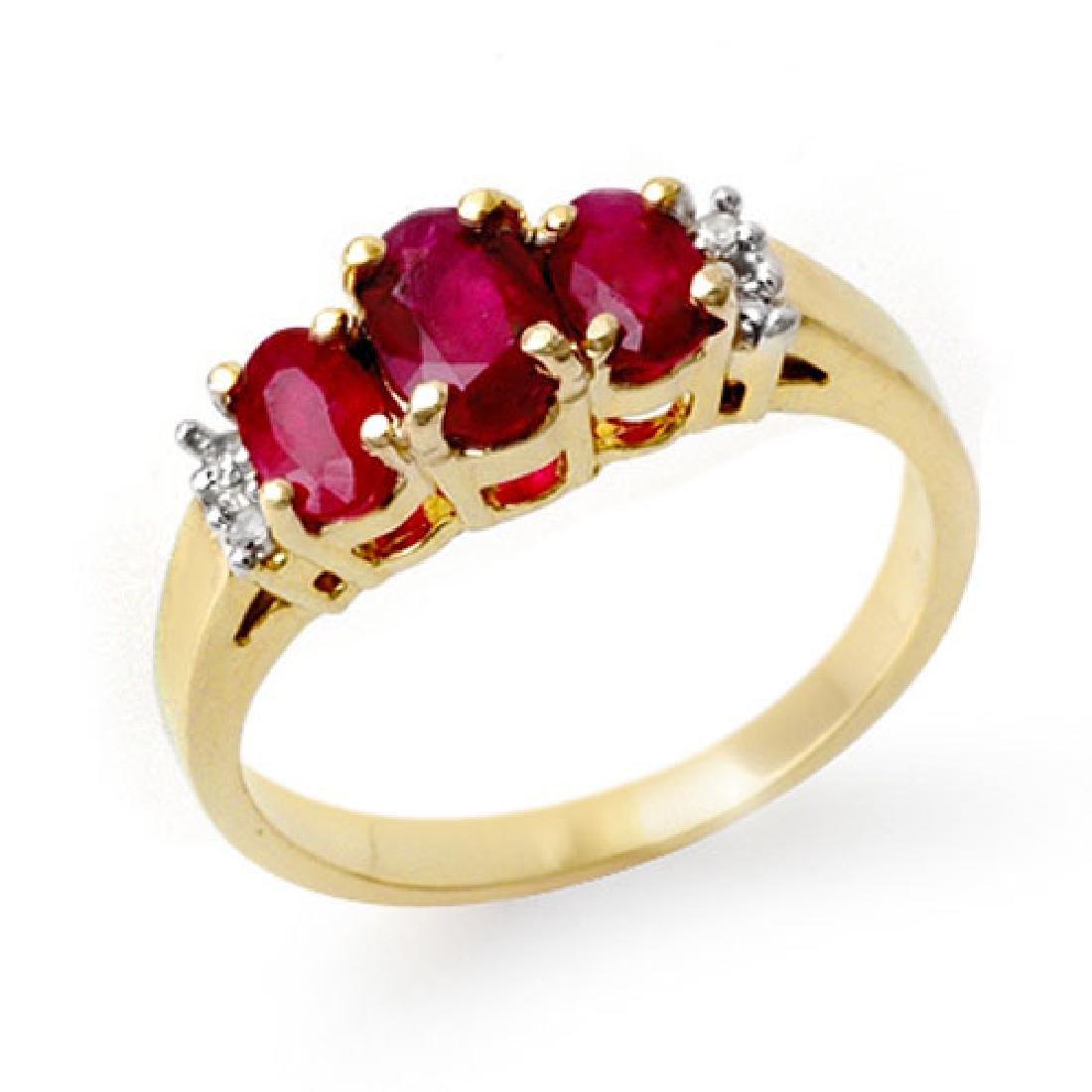 1.18 CTW Ruby & Diamond Ring 14K Yellow Gold
