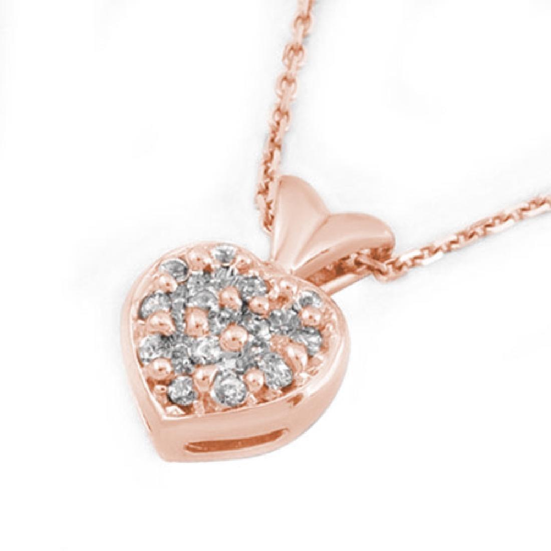 0.20 CTW Certified VS/SI Diamond Necklace 18K Rose Gold