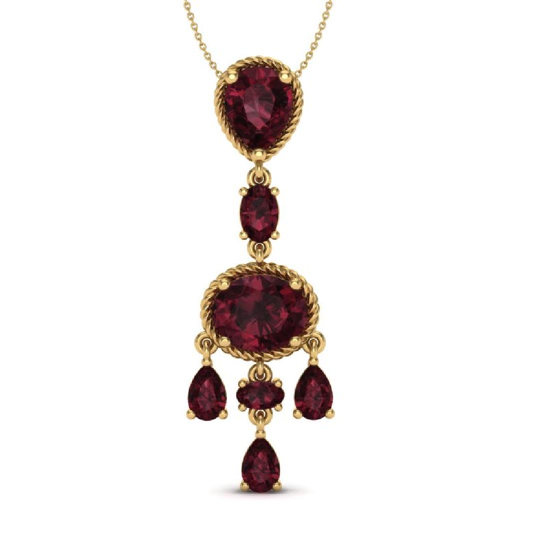 8 CTW Garnet Necklace Designer Vintage 10K Yellow Gold