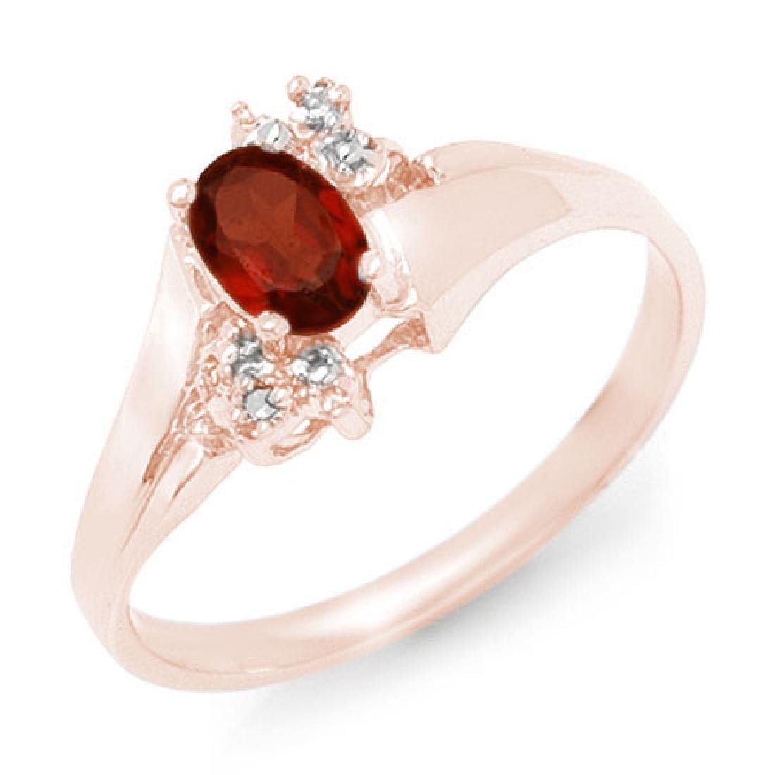 0.52 CTW Garnet & Diamond Ring 10K Rose Gold