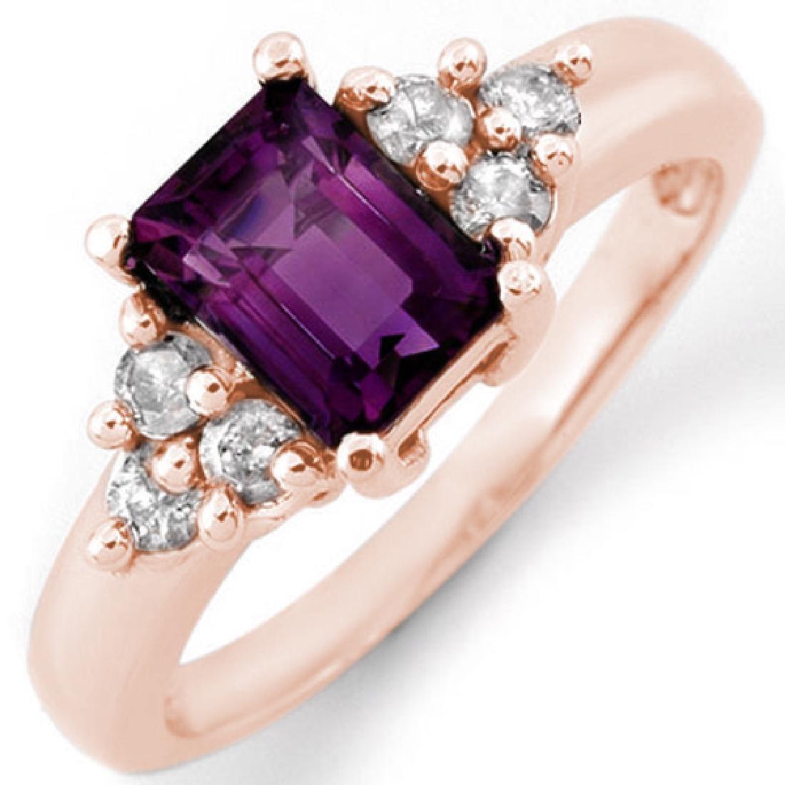 1.36 CTW Amethyst & Diamond Ring 14K Rose Gold