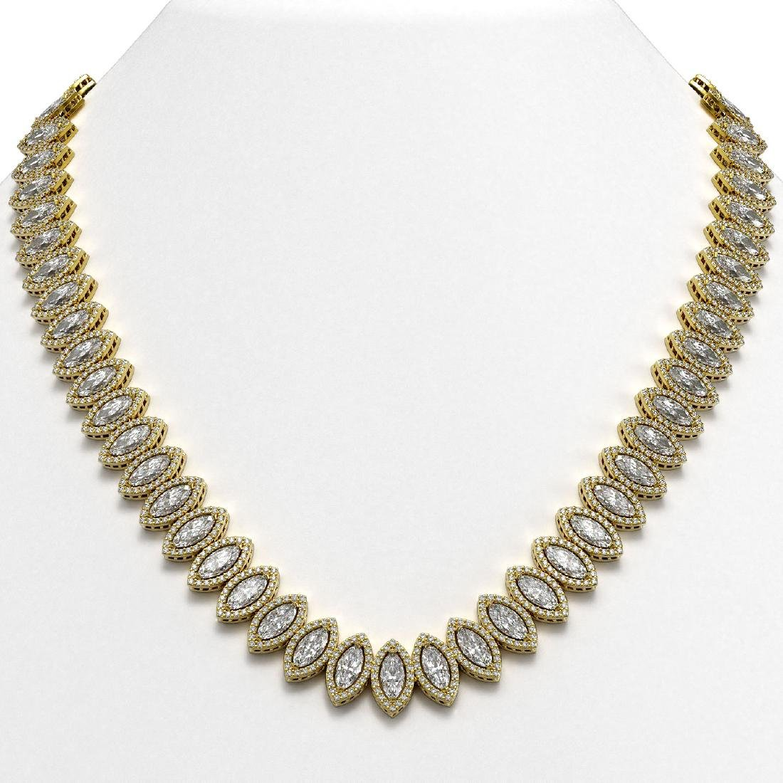 47.12 CTW Marquise Diamond Designer Necklace 18K Yellow