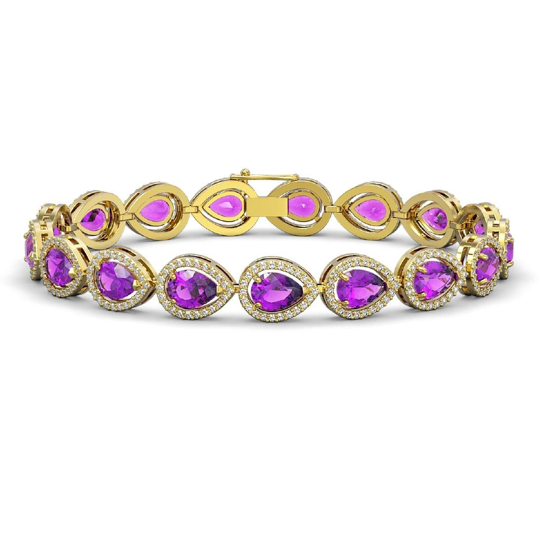 16.76 CTW Amethyst & Diamond Halo Bracelet 10K Yellow